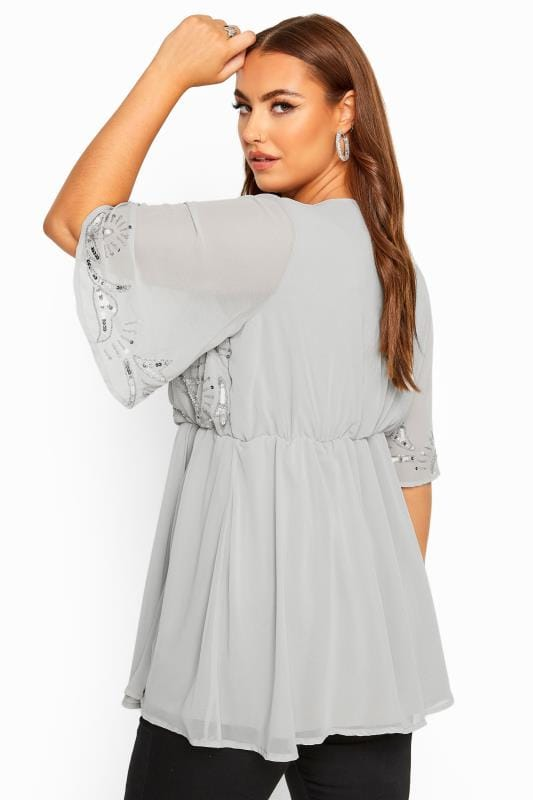 LUXE Grey Sequin Embellished Wrap Top