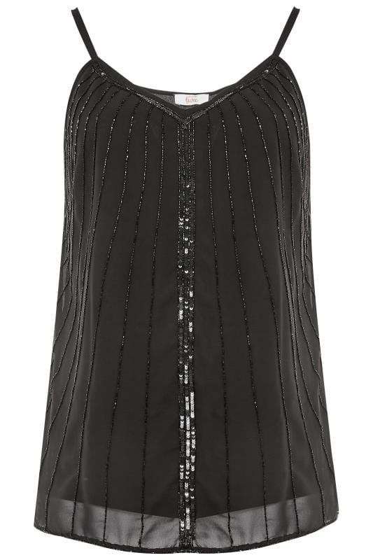 Plus Size Vests & Camis LUXE Black Bead Embellished Swing Cami Top