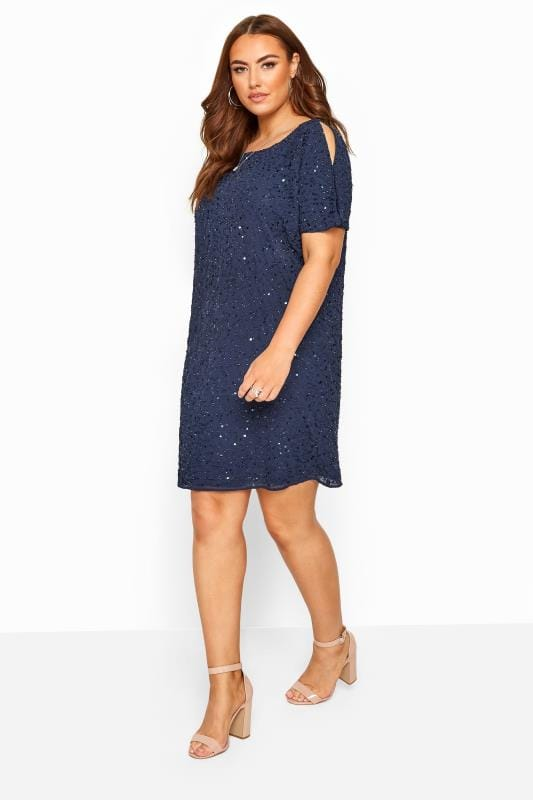 Yours Clothing Womens Plus Size Glitter Strappy Party Dress