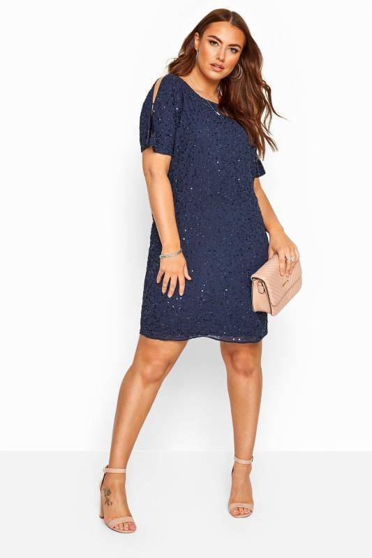 LUXE Navy Sequin Embellished Cape Dress