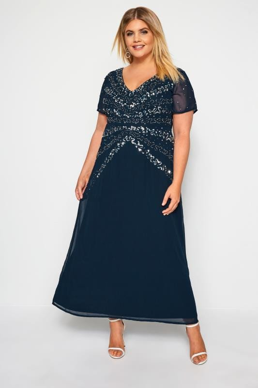 LUXE Navy Embellished Maxi Dress