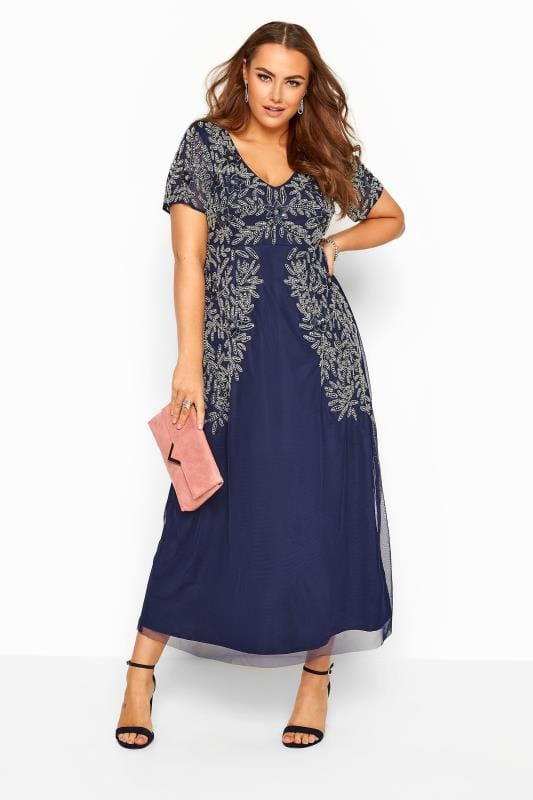 LUXE Navy Floral Sequin Embellished Maxi Dress