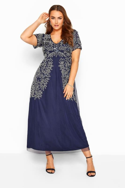 Plus-Größen Evening Dresses LUXE Navy Floral Sequin Embellished Maxi Dress