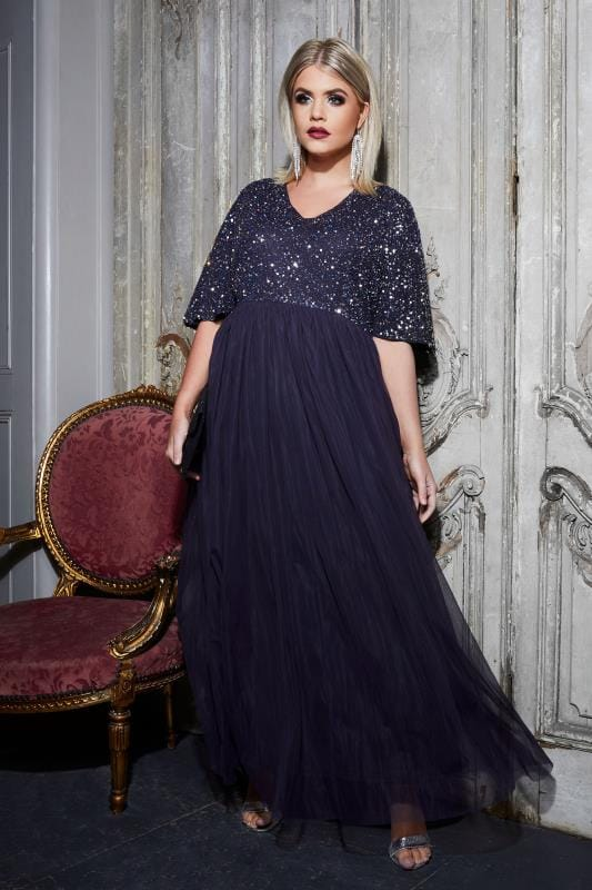 LUXE Navy Sequin Embellished Maxi Dress