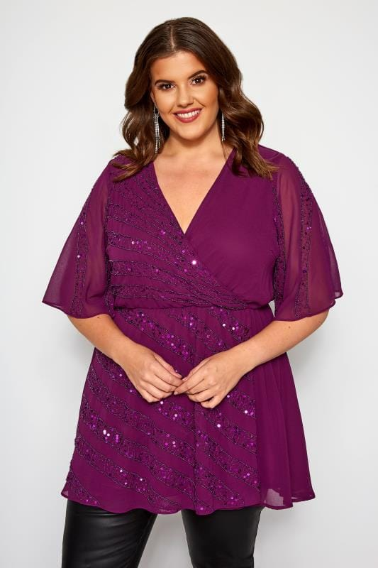 Plus Size Party Tops LUXE Purple Embellished Wrap Top