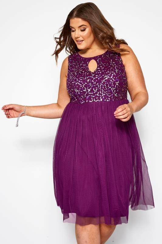 Plus Size Midi Dresses LUXE Purple Sequin Embellished Dress