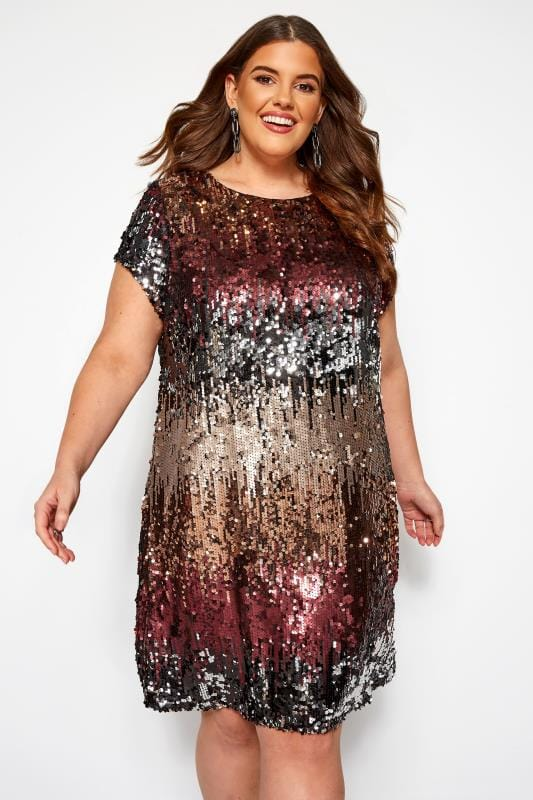 Plus Size Party Dresses LOVEDROBE Multi Sequin Shift Dress