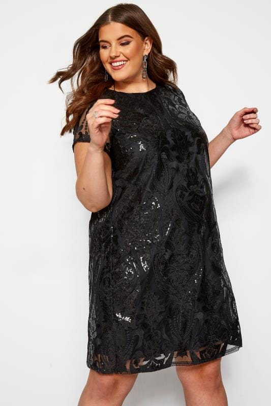Plus Size Party Dresses LOVEDROBE Black Sequin Shift Dress