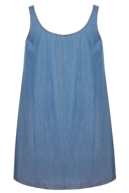 Blue Denim Ring Detail Pinafore Dress