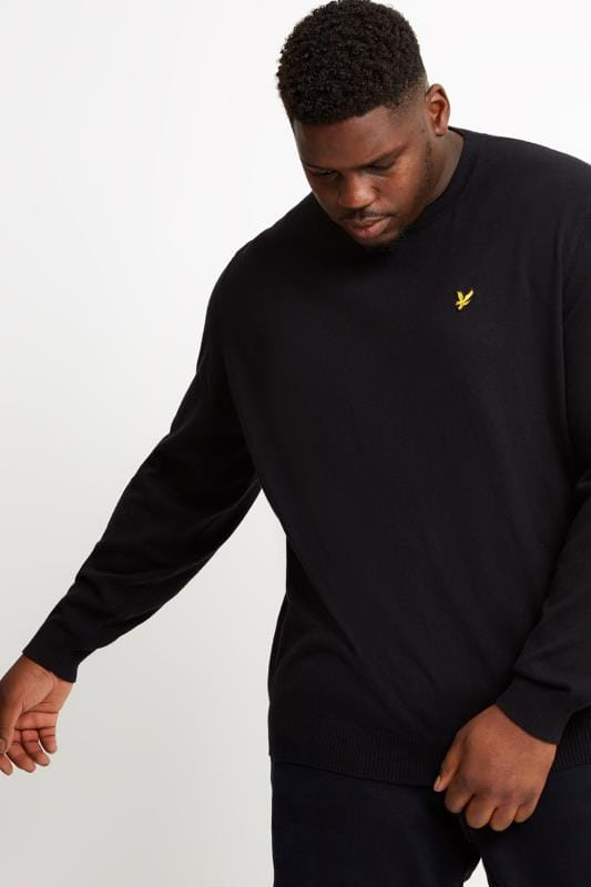 Jumpers dla puszystych LYLE & SCOTT Black Crew Neck Jumper