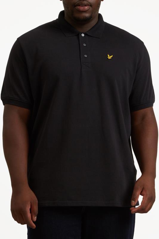 Großen Größen Polo Shirts LYLE & SCOTT Black Polo Shirt