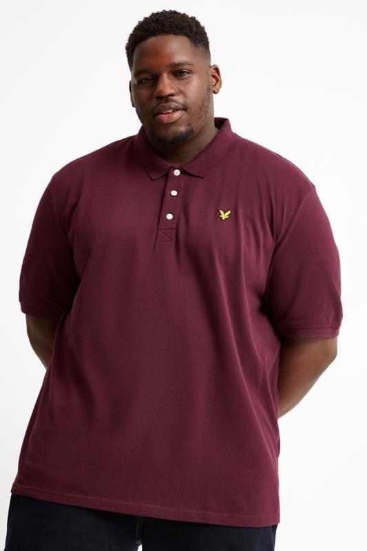Plus Size Polo Shirts LYLE & SCOTT Burgundy Polo Shirt