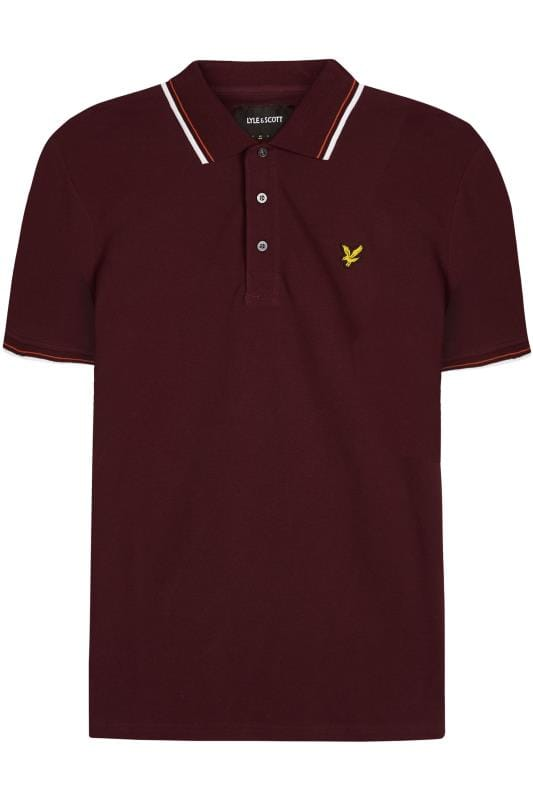 Plus Size Polo Shirts LYLE & SCOTT Burgundy Tipped Polo Shirt