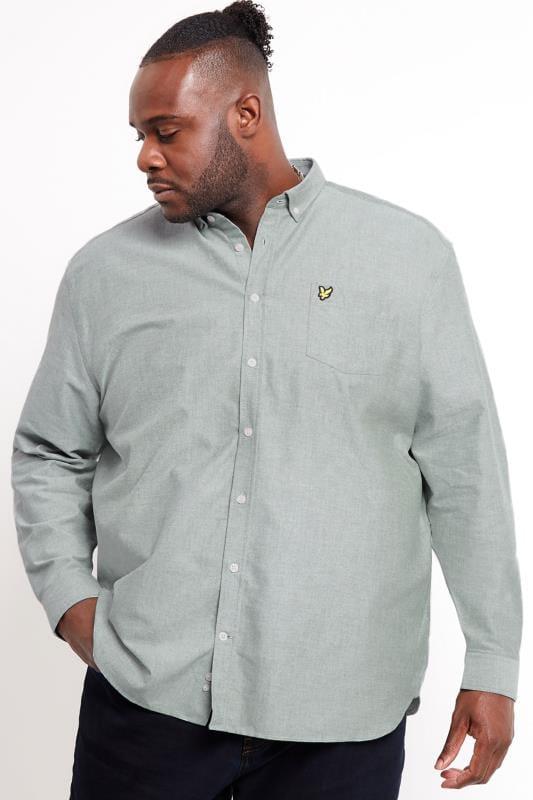 Plus-Größen Smart Shirts LYLE & SCOTT Light Green Oxford Shirt