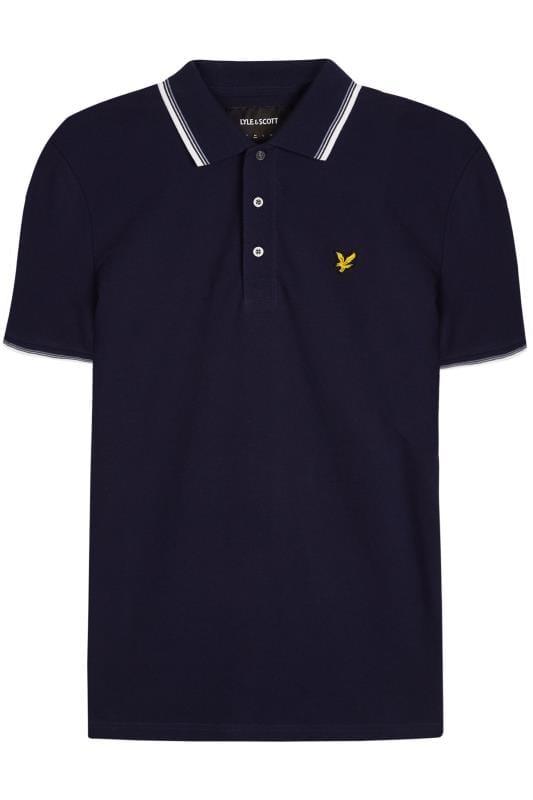 Plus Size Polo Shirts LYLE & SCOTT Navy Tipped Polo Shirt