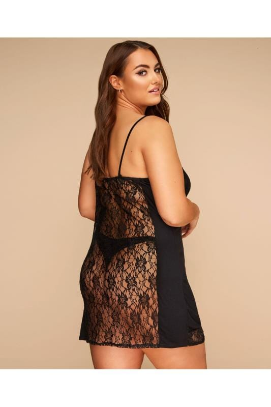 Plus Size Sexy Lingerie LIMITED COLLECTION Black Lace Back Slip Dress