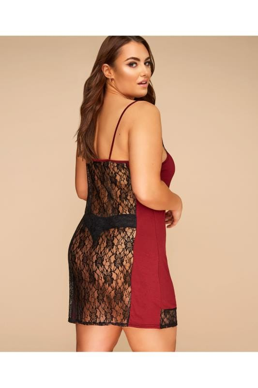 LIMITED COLLECTION Burgundy Lace Back Slip Dress