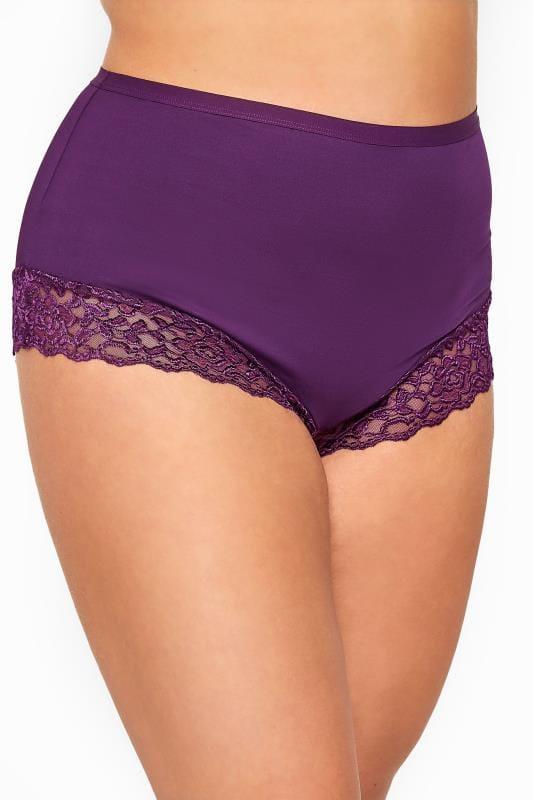 Purple Lace Trim Briefs