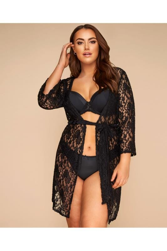 Plus Size Sexy Lingerie LIMITED COLLECTION Black Lace Kimono Robe