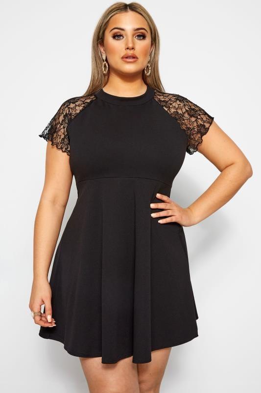 LIMITED COLLECTION Black Lace Shoulder Scuba Dress