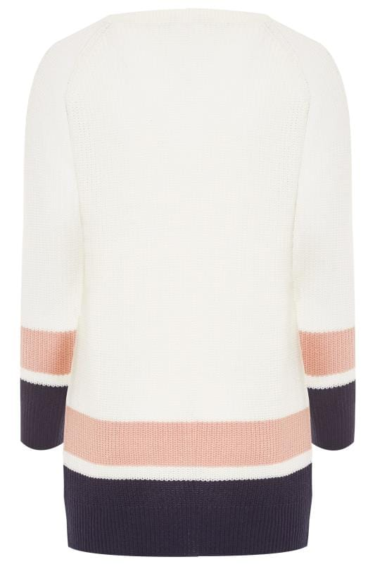 Cream Striped Trims Knitted Jumper