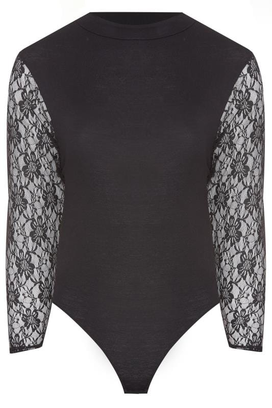 LIMITED COLLECTION Black High Neck Lace Sleeve Bodysuit