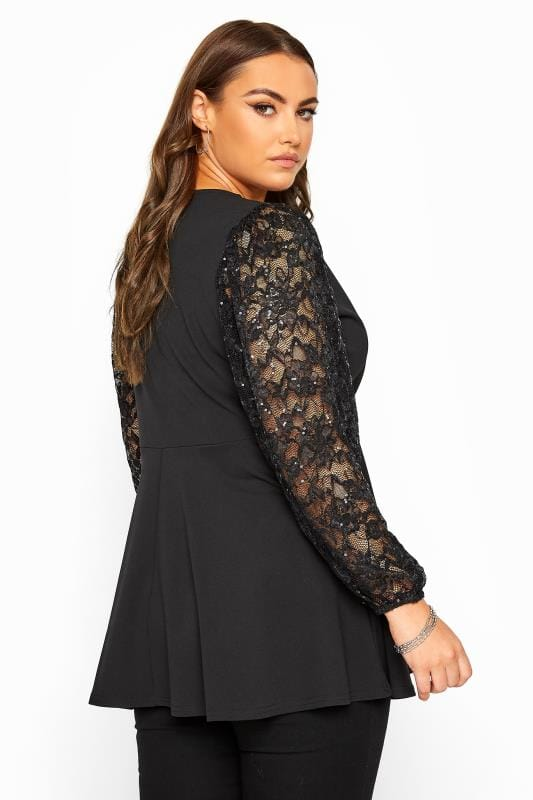 YOURS LONDON Black Lace Sequin Balloon Sleeve Wrap Top