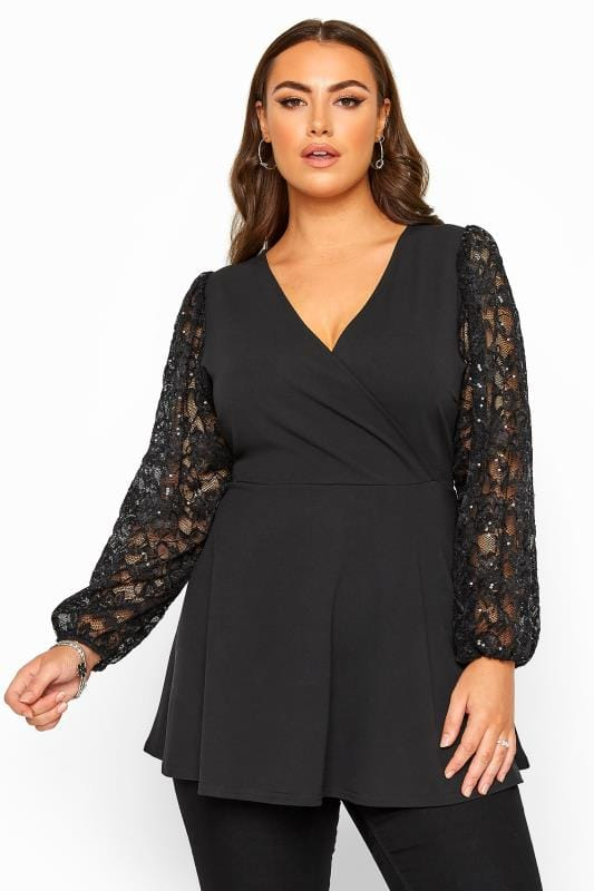 Plus-Größen Casual / Every Day YOURS LONDON Black Lace Sequin Balloon Sleeve Wrap Top