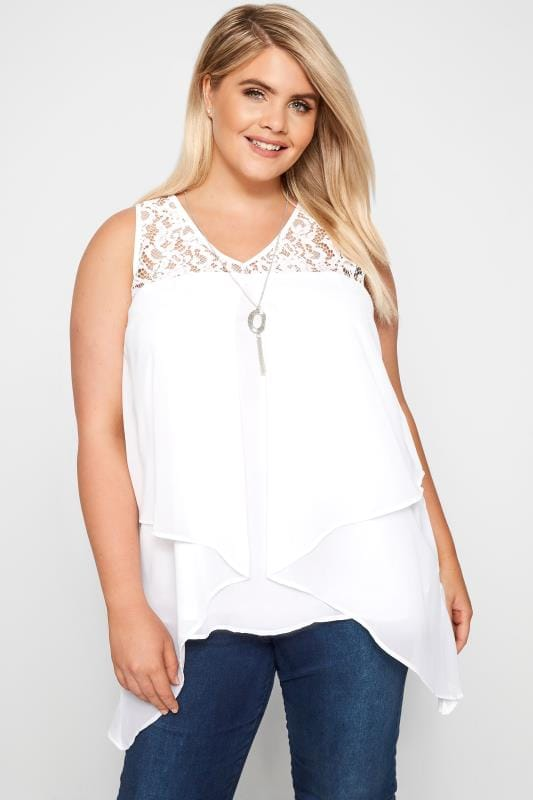 Plus Size Vests & Camis YOURS LONDON White Layered Lace Chiffon Top