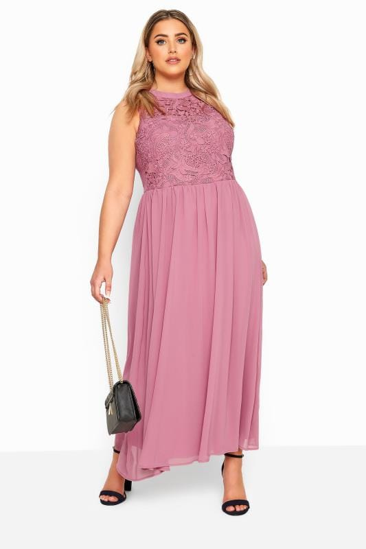 YOURS LONDON Pink Lace Maxi Dress