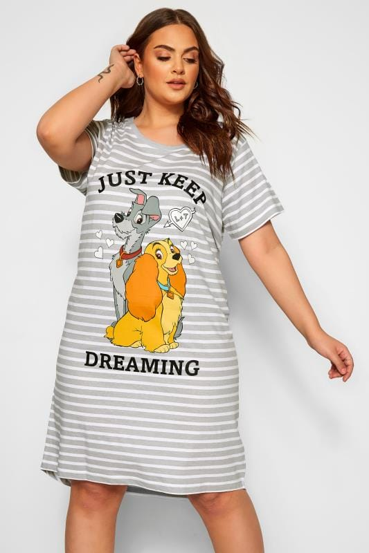 Plus Size Nightdresses & Chemises Grey Disney Lady & The Tramp Nightdress