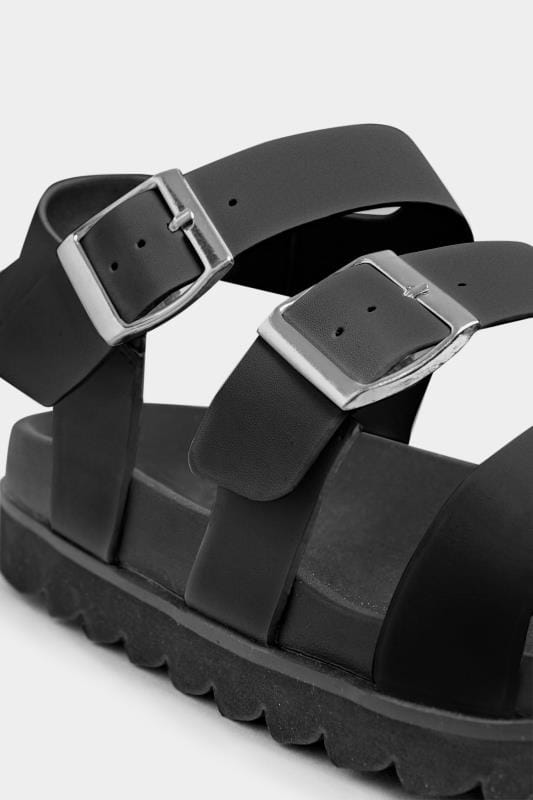 LIMITED COLLECTION Black Footbed Buckle Sandals In Extra Wide Fit