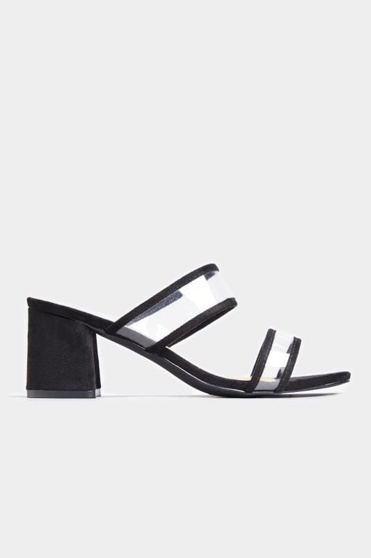 LIMITED COLLECTION Black Perspex Heeled Mules In Extra Wide Fit
