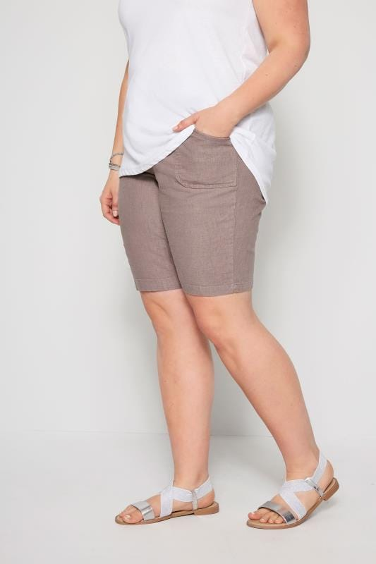 Plus Size Linen Mix Shorts Latte Linen Mix Shorts