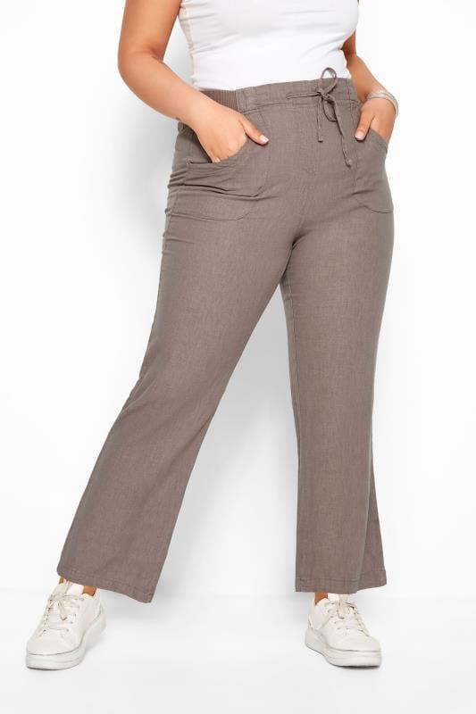 Latte Linen Mix Wide Leg Trousers