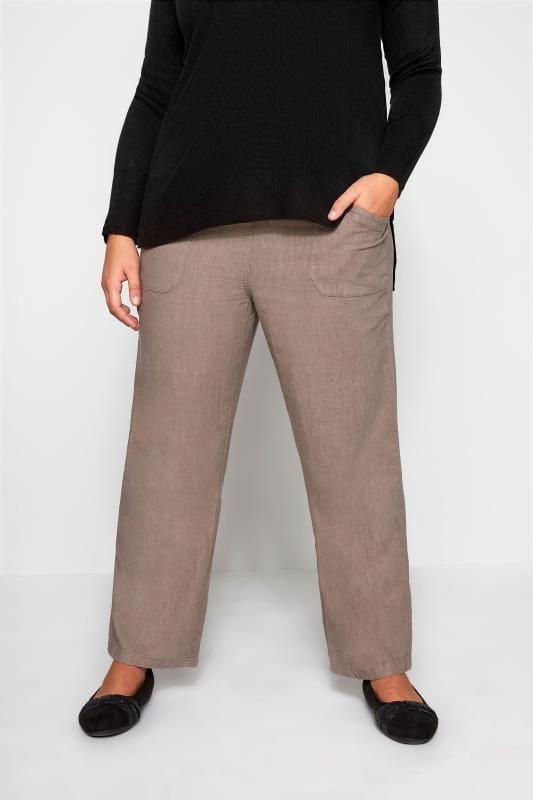 Plus Size Linen Mix Trousers Latte Linen Mix Wide Leg Trousers