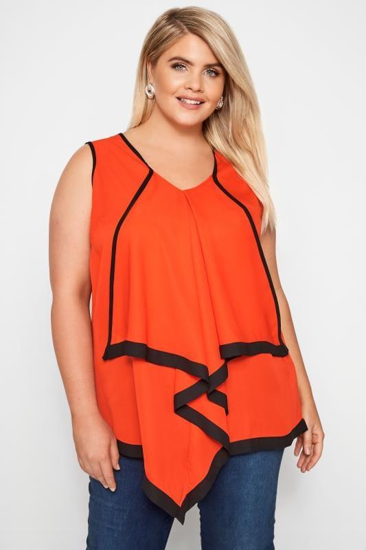 YOURS LONDON Dark Orange Ruffle Vest