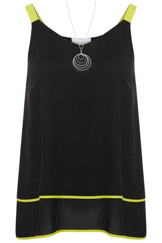 YOURS LONDON Black & Lime Green Layered Cami Top