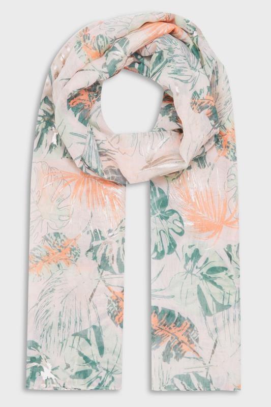 Blush Pink & Green Tropical Foil Scarf