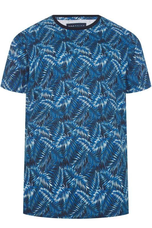 BadRhino Blue Tropical Leaf Print T-Shirt