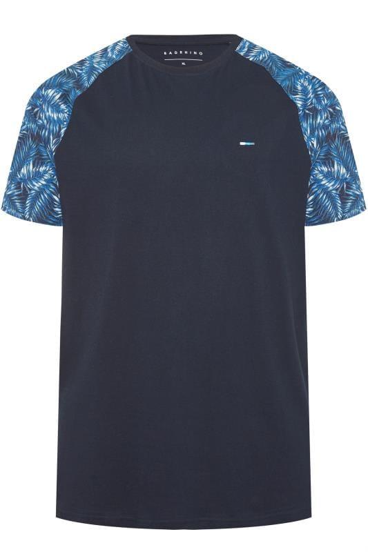 BadRhino Navy Leaf Print Raglan T-Shirt