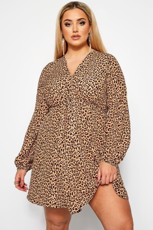 Vestidos para salir Tallas Grandes LIMITED COLLECTION Vestido marrón estampado leopardo