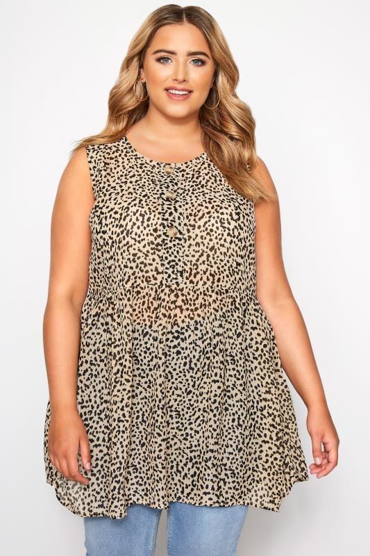 Plus Size Tunics Leopard Print Button Front Tunic