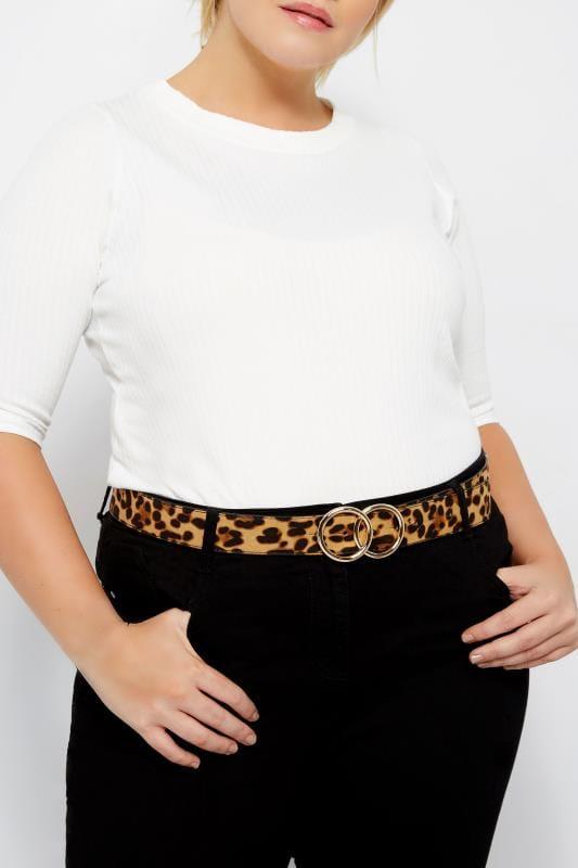 Plus Size Belts Leopard Print Double Circle Belt