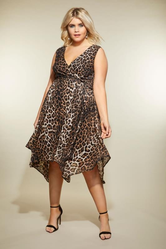 Plus Size Midi Dresses Leopard Print Wrap Dress With Hanky Hem