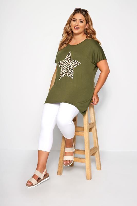 Khaki Leopard Star Print T-Shirt