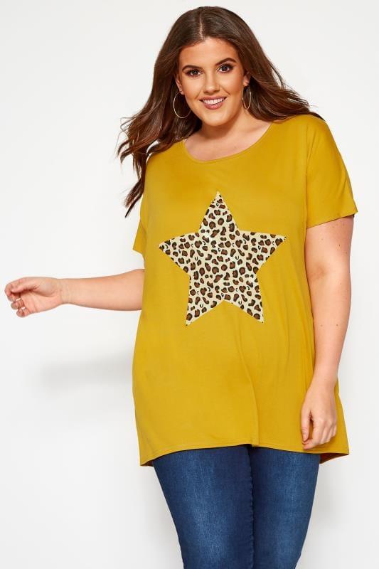 Mustard Leopard Star Print T-Shirt