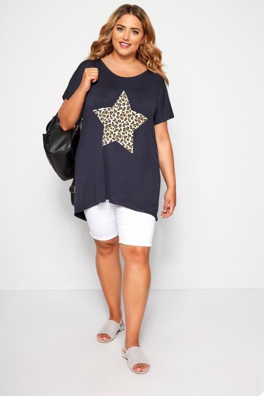 Navy Leopard Star Print T-Shirt
