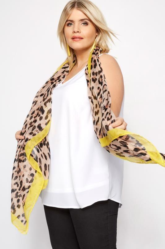 Leopard Yellow Trim Scarf