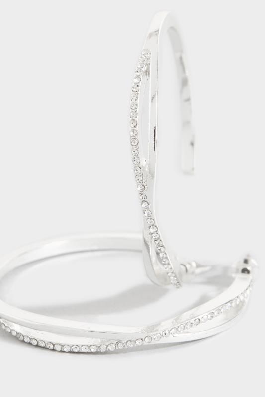 Silver Diamante Twist Hoop Earrings
